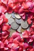Pieniądze i róże — Zdjęcie stockowe