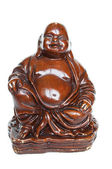 Brown old buddha made of wood — Zdjęcie stockowe