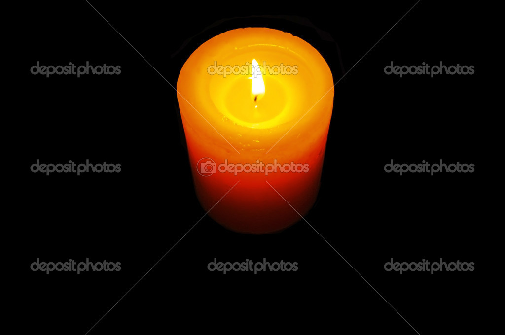 Candle in dark isolated — Stock Photo #3388228