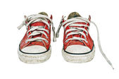 Red old retro sneakers — Stock Photo