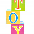 Word toy spelled out in baby blocks — Stock Photo #3696629