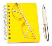 Pen and eye glasses — Stock Photo