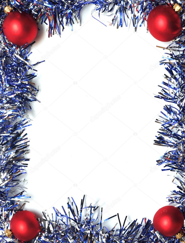 Frame from a blue tinsel on a white background  Lizenzfreies Foto #3840875
