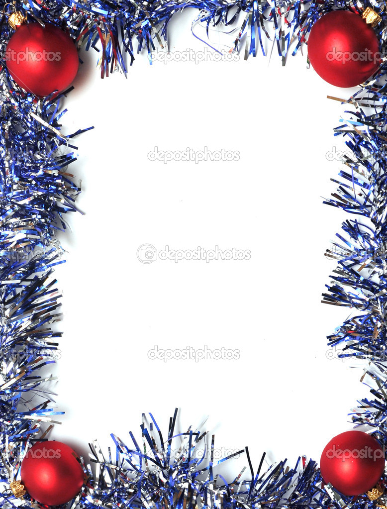 Frame from a blue tinsel on a white background — Stock fotografie #3840875