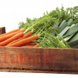 Stock Photo: Crate of organic vegetables