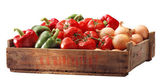 Crate of bell peppersand other vegetable — Stock Photo