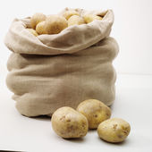 Overflowing bag of potatoes on whit — Stock Photo