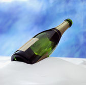 Champagne botlle in the snow with — Stock Photo