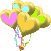 Heart Balloons on ribbons — Stock Photo