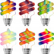 Royalty-Free Stock Photo: Set of Energy saving light bulbs in multi-color illustration