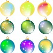 Royalty-Free Stock Photo: Nine assorted colorful christmas balls on white background, illustration