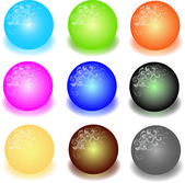 Set of colorful 3d marbles illustration — Stockfoto
