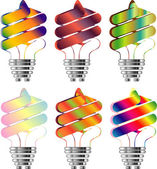 Set of Energy saving light bulbs in multi-color illustration — Stock Photo
