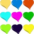 Set of 9 3D vibrant colorful hearts isolated illustration vector — Stock Vector