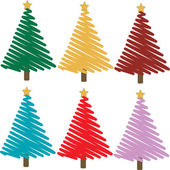 Set of colorful christmas trees illustrations — Stock Photo
