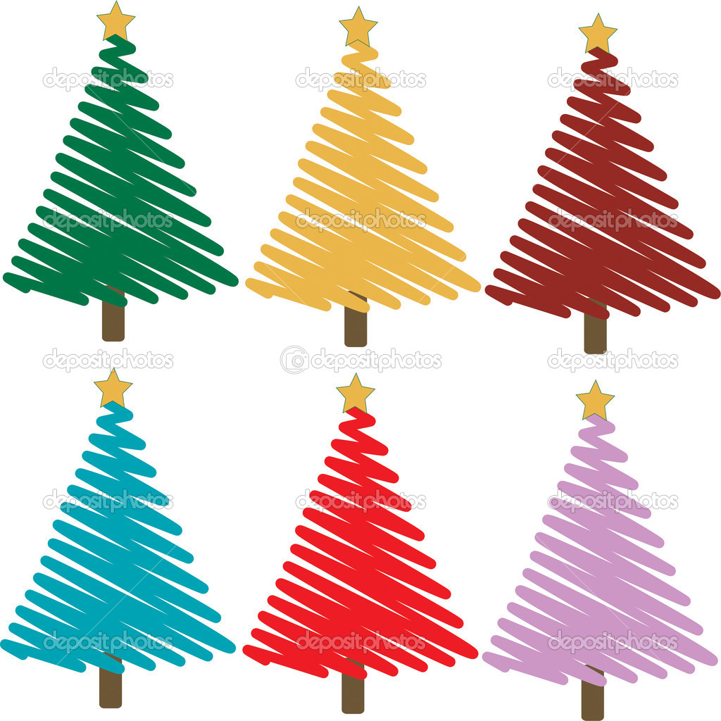 Set of colorful christmas trees illustrations — Stock Photo #3420986