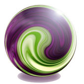 Purple, green and cream sphere glass marble illustration — Stockfoto