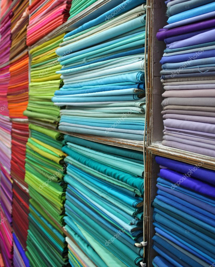 Shelves full of colorful textiles in an Indian fabric store. — Stock Photo #3358614