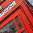 Stock Photo: Red telephone booth in London