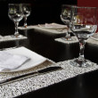 Stock Photo: Glass, fork and knife on restaurant table