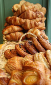 Pastries and Croissants in a bakery — Stock Photo