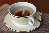 A cup of English tea for breakfast — Stock Photo