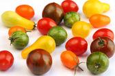 Varieties of tomato on white fabric — Stock Photo
