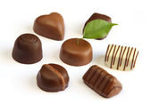 Luxury chocolates on white background — Stock Photo