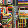Colorful Fabrics with different patterns in a store — Stock Photo