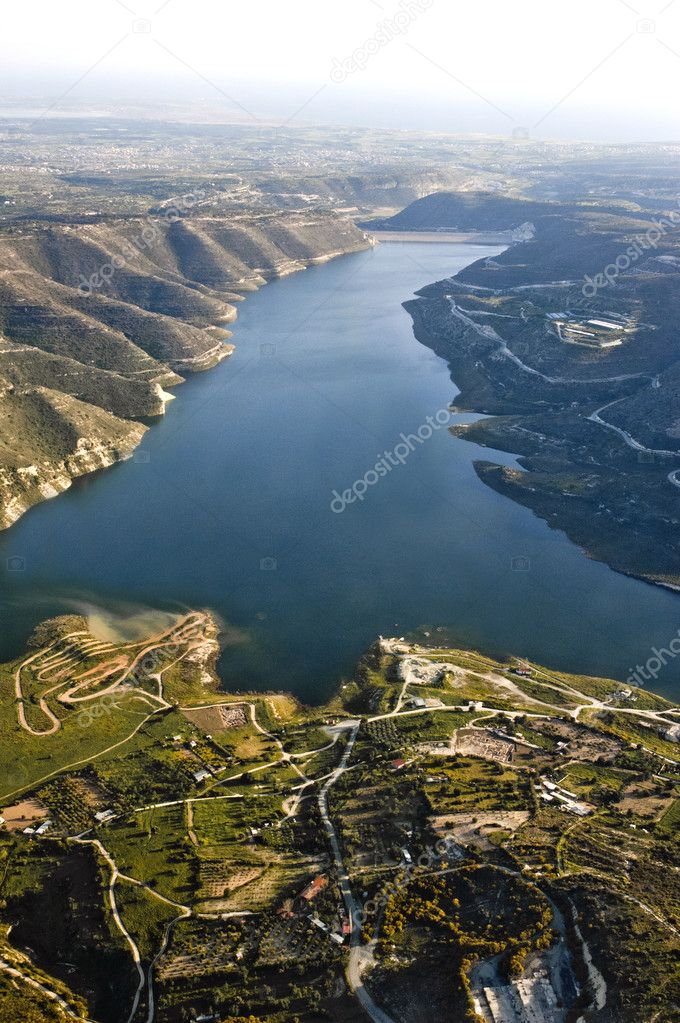 Aerial view at farm fields and water dam, Cyprus — Stock Photo #3502285