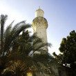 A  minaret of turkish mosque in old town of nicosia — Stock Photo