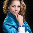 Sweetie girl in bright jacket — Stockfoto