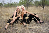 Two blondes on lawn — Stock Photo