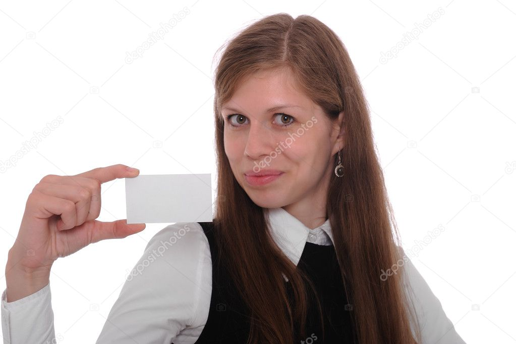 Businesswoman showing and handing a blank business card in a white background. — Stock Photo #3479709