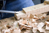 Young man doing carpentry work — Stock Photo