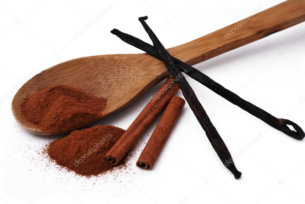 Spices. cinnamon and vanilla on a white background — Stock Photo #3408727