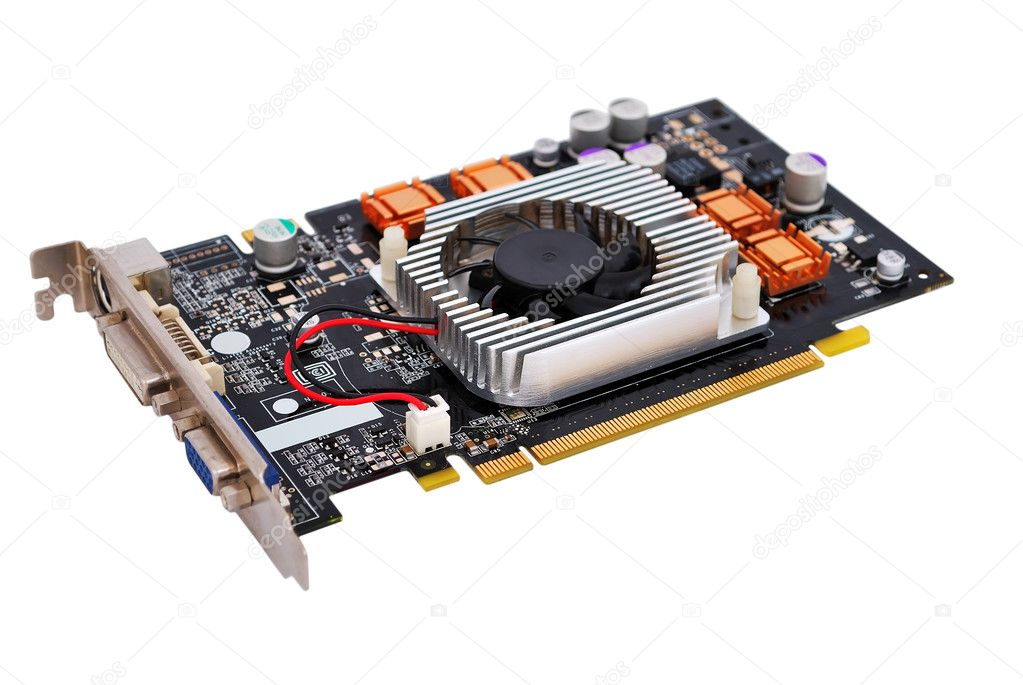 Video card with three outputs on a white background — Stock Photo #3731292