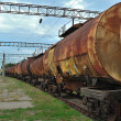 Train transports old tanks — Stock Photo #3852294