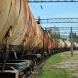 Train transports old tanks — Stock Photo #3852299