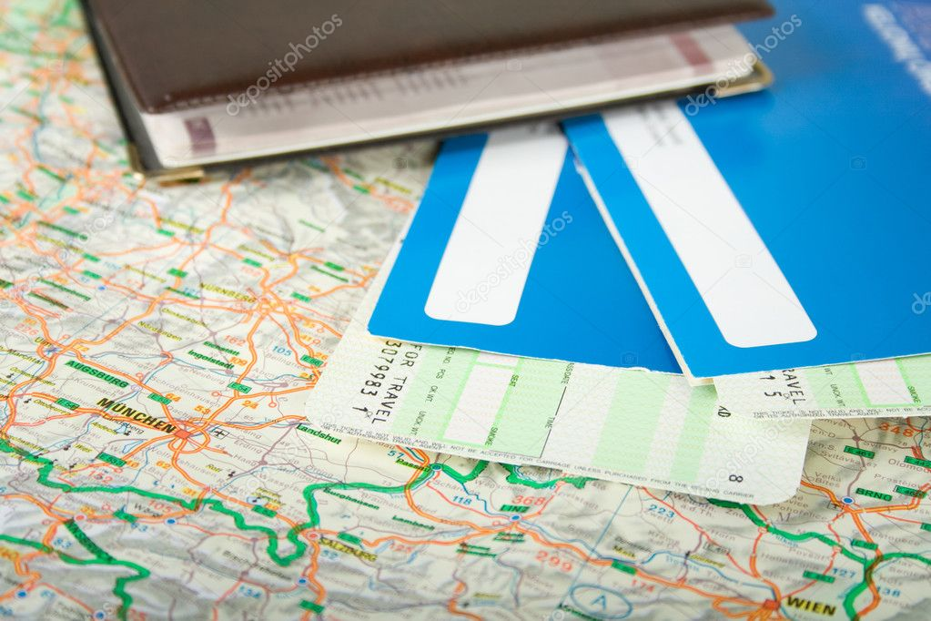 Preparing to travel: passport, tickets, map  Stock Photo #3435872