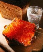 Caviar red; vodka — Stock Photo