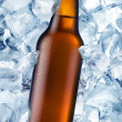 Stock Photo: A bottle of beer is in ice