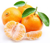 Tangerine with segments on a white background — Stock Photo