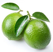 Lime with leaves on a white background — Stock Photo