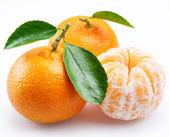 Tangerine with segments on a white background — Stock Photo