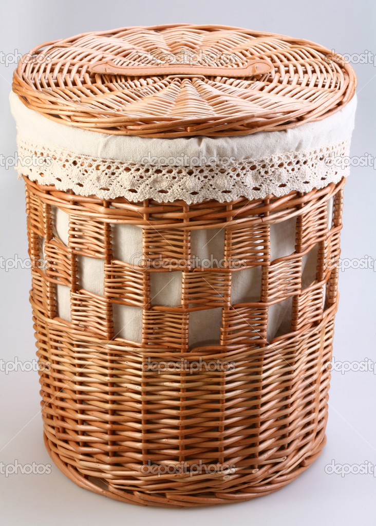 Wattled closed basket on a white background — Stock Photo #3607120
