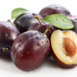 Stock Photo: Plums on a white background