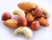 Nuts on a white — Stock Photo