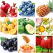 "Collection of images on the theme of ""fruits"" — Stockfoto"
