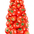 Stock Photo: Bottle of ketchup built of small tomatoes.